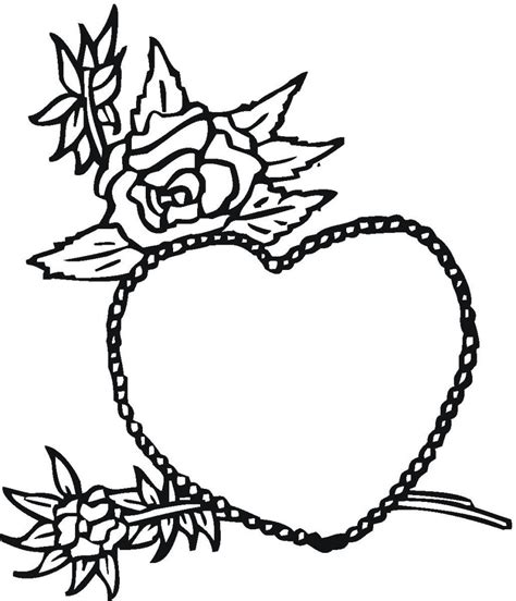 coloring pages for hearts and roses free printable heart coloring pages for kids