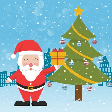 are papa noel trees good santa claus next to a tree vector free