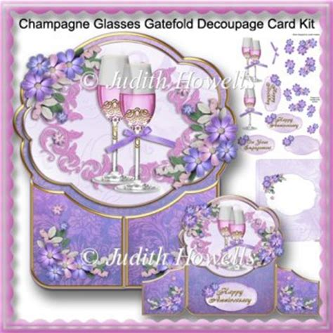 Free Decoupage Downloads For Card - chagne glasses gatefold decoupage card kit 163 1 00