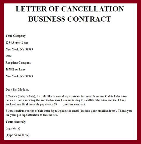 Cancellation Letter Of Service Agreement Contract Termination Letter Real Estate Forms