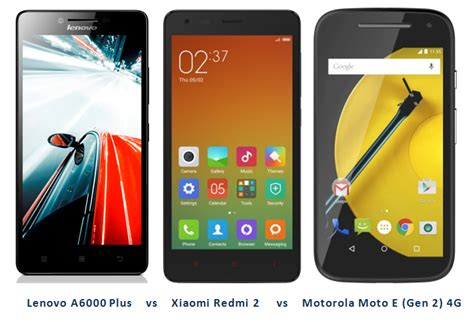 Lenovo A6000 Plus Vs Xiaomi Redmi 2 lenovo a6000 plus vs xiaomi redmi 2 vs motorola moto e 2 4g specs features comparison