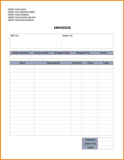 6 Bill Format In Word Doc Sle Travel Bill Word Document Invoice Template