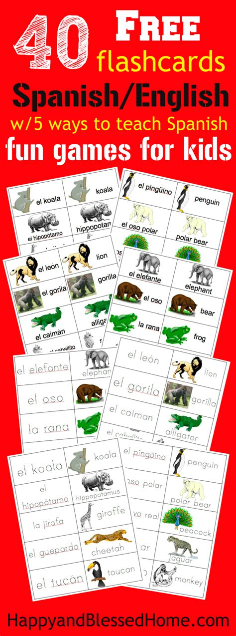 free printable spanish flashcards for toddlers 40 free spanish english flashcards of jungle animals and 5