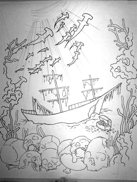 sunken ship tattoo 7 best sunken ship drawing images on shark