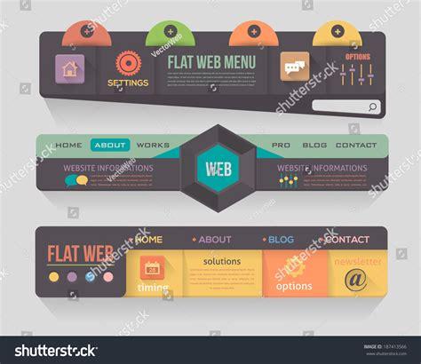 web design header menu flat dark style vector header horizontal stock vector