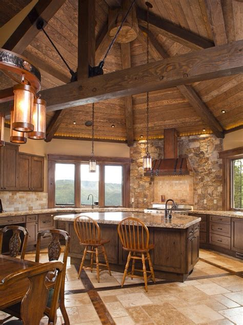 Log Cabin Kitchen Designs Rustic Kitchen Range Hoods
