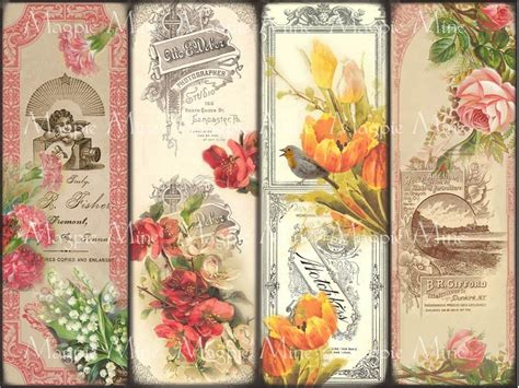 printable bookmarks etsy 8 best images of printable flower bookmarks free