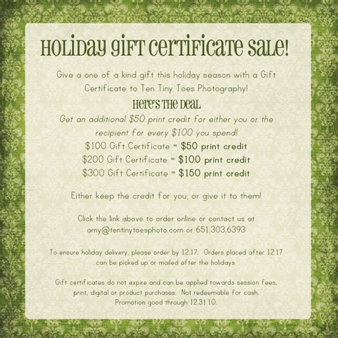 holiday gift certificate sale minneapolis baby child