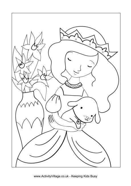 princess and puppy colouring page