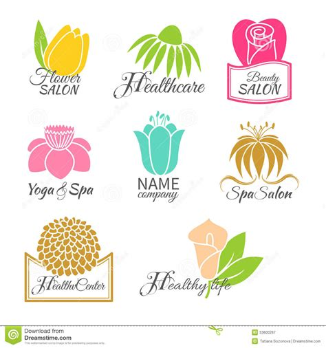 logo design white label flowers set stock vector image 53600267