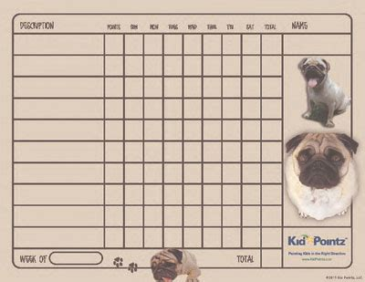 pug chart free behavior charts dogs theme kid pointz