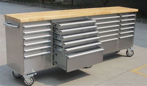 tool storage bench new 96 quot stainless steel tool bench work 24 drawer box bench storage ebay