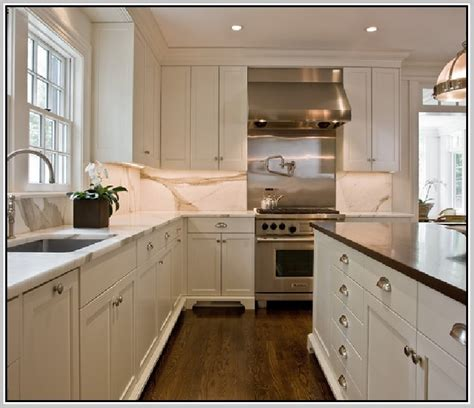 Brushed Nickel Hardware For Kitchen Cabinets by White Kitchen Cabinets With Brushed Nickel Hardware Quicua