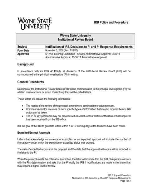 Principal Investigator Cover Letter 4 12 Notification Of Irb Decisions To Principal