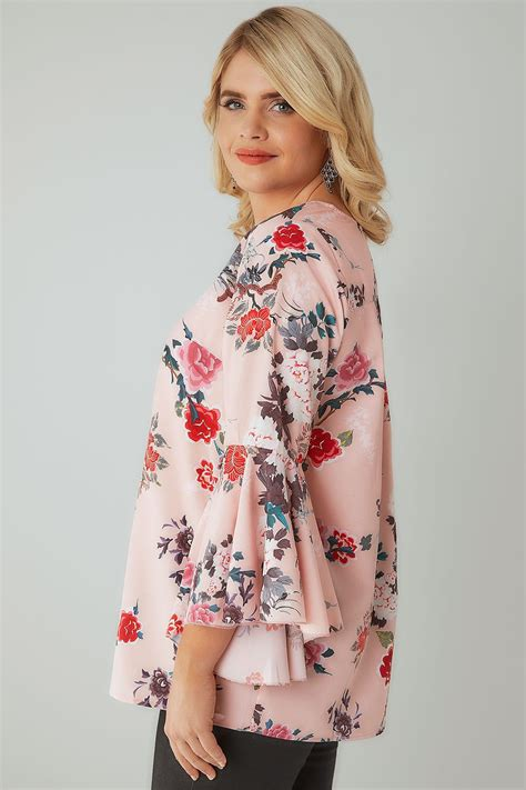 Floral Print Sleeve Blouse pink floral print woven blouse with flute sleeves plus