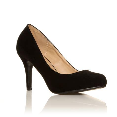 black high heel evening shoes court shoes womens office smart black evening