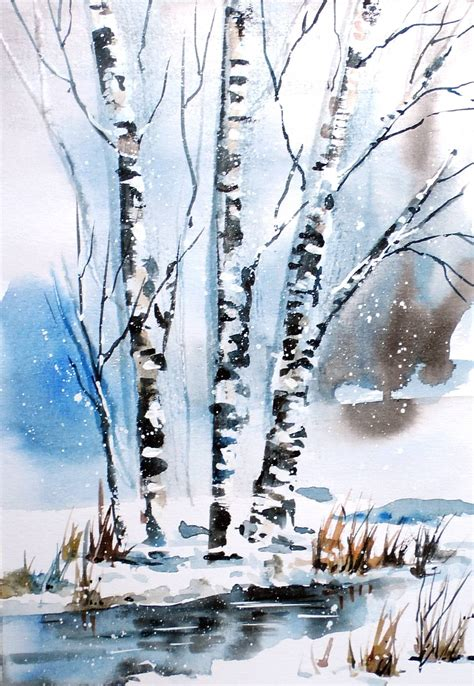 watercolor tutorial winter watercolor time lapse videos winter spirit painting