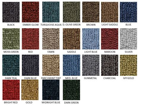 1980s colors 1980 20 loop carpet colors one stop classic car parts