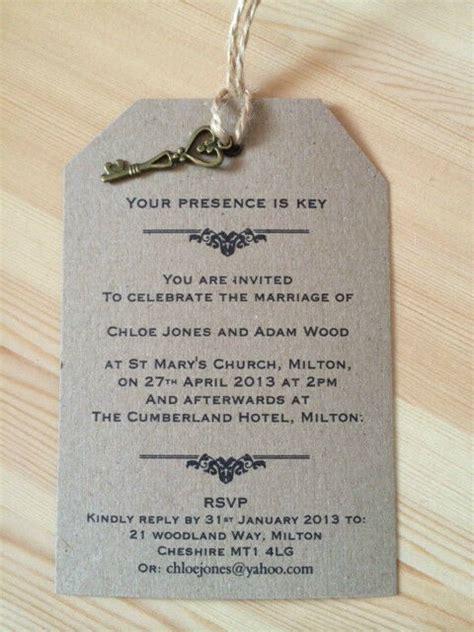 wedding invitation presence is key vintage luggage tag label kraft card ebay