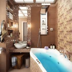 brown mosaic bathroom tile interior design ideas