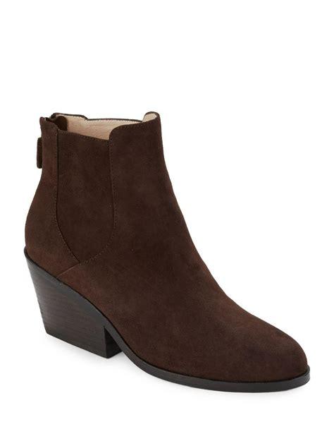 eileen fisher boots eileen fisher peer block heel suede boots in brown lyst