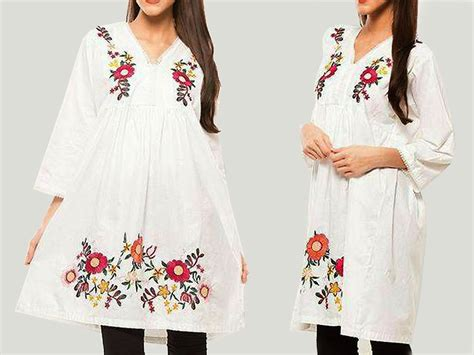 Embroidery White Tops flower embroidery white cotton top price in pakistan