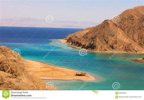 fjord bay taba sea mountain view of the fjord bay in taba egypt stock