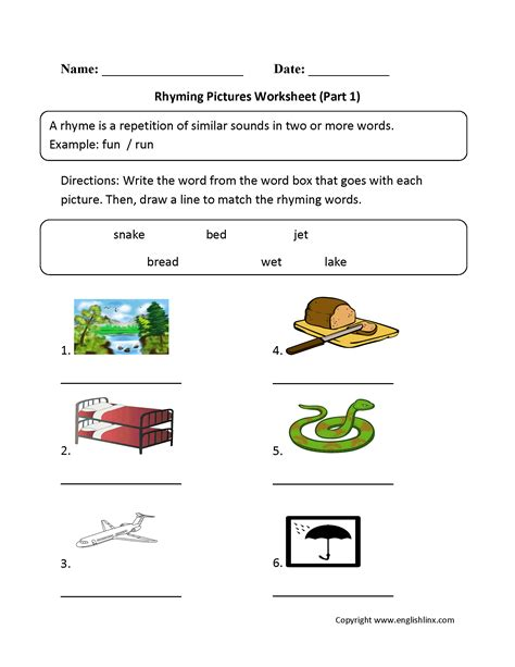 Rhyming Worksheets by Rhyming Words For Grade 1 Boxfirepress