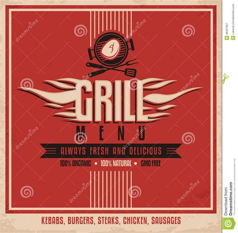 grill menu retro poster design template royalty free stock