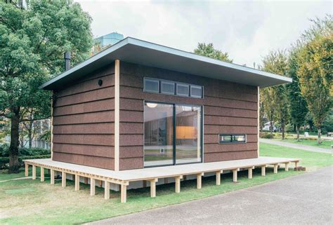 muji unveils trio tiny prefab homes that can pop up
