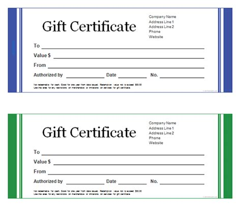 Blank Gift Card Templates Free by Printable Gift Certificate Templates Sleprintable