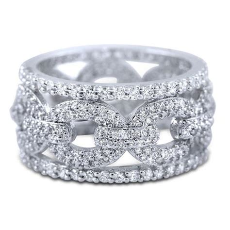 sterling silver micro pave cz wide eternity band white cubic zirconia ring ebay