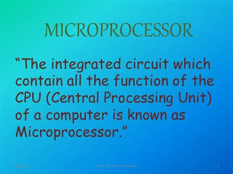 integrated circuit is also known as history of intel microprocessors ppt