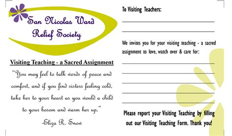visiting teaching assignment cards template printables