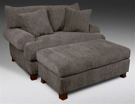 Fabric Chair And Ottoman Gray Fabric Chair With Low Arm Rest And Cushions Combined With Block Ottoman And Brown Wooden