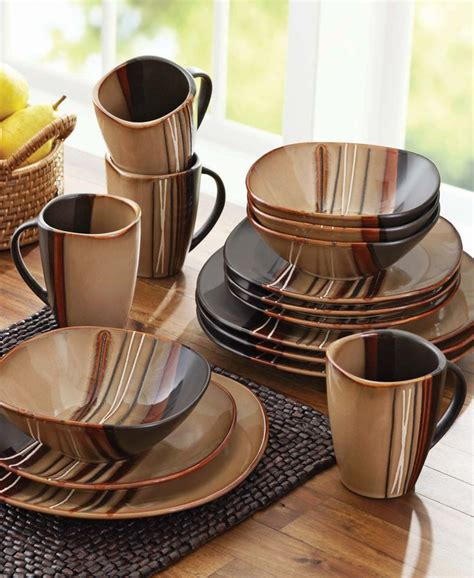 better homes and gardens bazaar brown 16 dinnerware