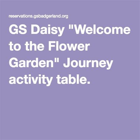 Gs Daisy Quot Welcome To The Flower Garden Quot Journey Activity Welcome To The Flower Garden