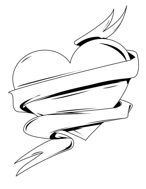Hearts With Ribbons Coloring Pages Coloring Ribbon Coloring Page