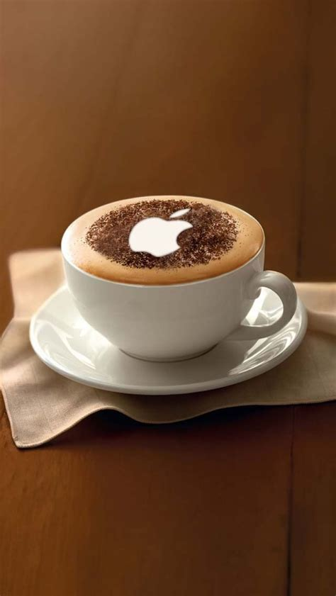 coffee wallpaper for iphone 4 apple logo on coffee 123mobilewallpapers com