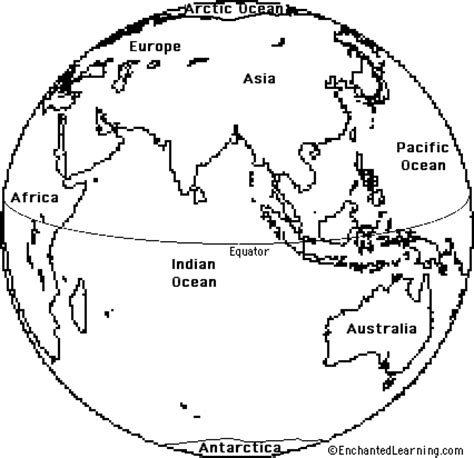 globe template earth eastern hemisphere template enchantedlearning