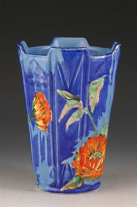 Clarice Cliff Vase by Clarice Cliff Marigold Pattern Vase Clarice Cliff