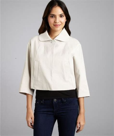 cropped swing jacket chlo 233 stone cotton blend cropped swing jacket in white