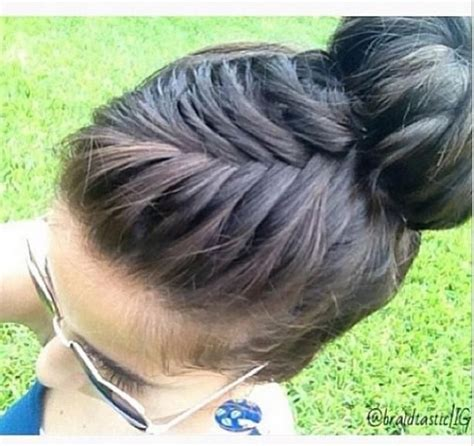 cute braided hairstyles going into a bun for black people french fishtail braid into bun hairstyles for long hair