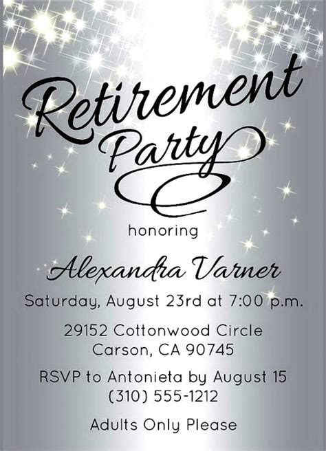 Retirement Party Invitation Template Free Cimvitation Retirement Invitation Template