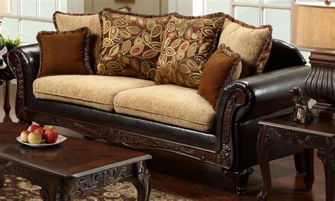 tan fabric sofa doncaster tan fabric and espresso leatherette sofa from
