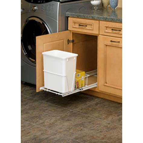 under sink trash can shop rev a shelf 20 quart plastic pull out trash can at