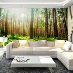 Jungle Tree Wall Stickers green forest sunshine full wall mural wallpaper print