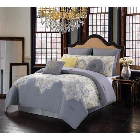 style  melania grey  yellow queen comforter set