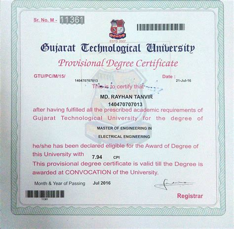 Electrical Engineering Degree With Mba degree certificate of mba in gtu