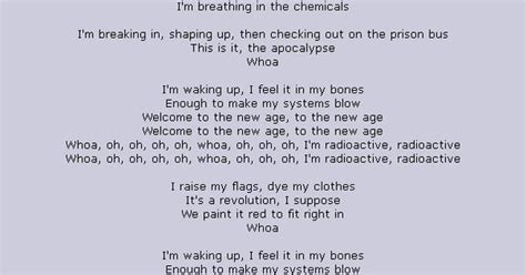 printable radioactive lyrics lyrics to radioactive by imagine dragons courtesy of